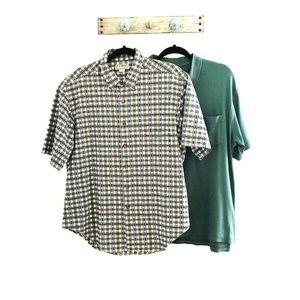 Lot of Two Mens L LL Bean Shirts Green Polo Tops